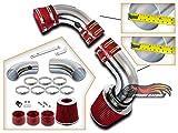 Rtunes Racing Black Cold Air Intake Induction Kit For 1996-2005 S10 / Blazer, 1996-2004 GMC Sonoma GMC Jimmy, 1996-2001 Oldsmobile Bravada / 1997-2000 Isuzu Hombre 4.3L V6 (Red)