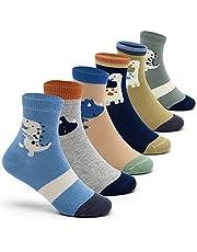 Boys Cotton Crew Socks Kids Seamless Toe Socks Cartoon Quarter Socks 6 Pack