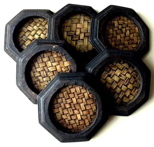 6 Set Round Thai Style Bamboo Woven Mango Wood Coasters Cup Hodler New Arrival by areerataeyshop