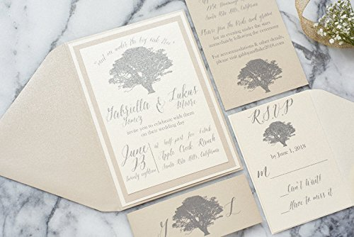 Custom Oak Tree Wedding Invitation Outdoor Rustic Wedding Card Set, Vow Renewal, Gabriella Sample -