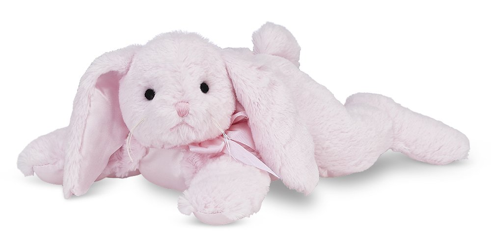 Bearington Baby Cottontail Plush Stuffed Animal Pink Bunny with Rattle 8 inches Bearington Collection 197087