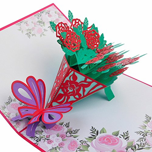 Mothers Day Card Rose Bouquet Pop Up 3D Greeting Thanks