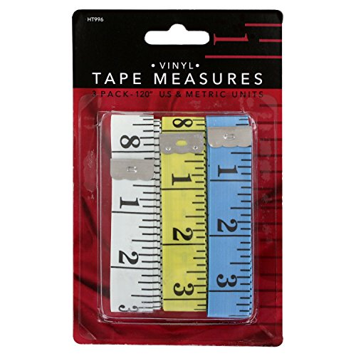 (Junipers Soft Vinyl Sewing Tailoring Tape Measure, Assorted Colors, Pack of 3 (120 Inch))