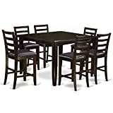 East West Furniture FAIR7-CAP-LC 7-Piece Pub Table Set, Faux Leather Seat, Cappuccino Finish