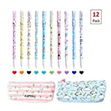 12 Pack Set -10 Pcs Unicorn Flamingo Gel Pens Set (Fine Point,0.5mm,10 Ink Color) +1 Unicorn Pencil Case+1 Flamingo Pencil Case, Perfect Unicorn Gifts Unicorn School Supplies