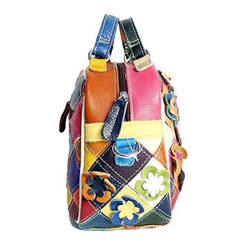 Moonsister Mode Damen Echts Leder Umhängetasche, Bunt Blumen Spleiß Kariert Einkaufen Freizeit Klein Handtaschen Schultertaschen
