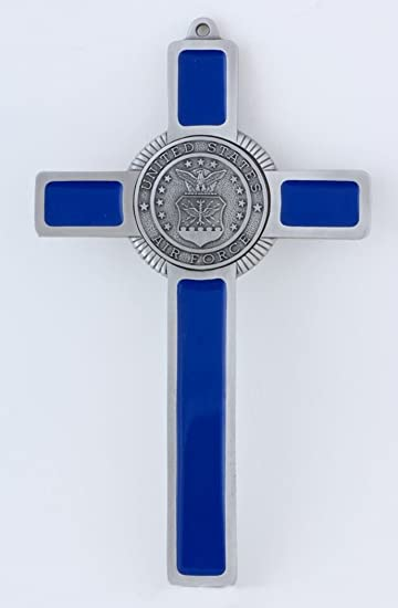Pewter and Blue Enamel US Air Force Military Wall Cross, 8 Inch