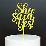 Betalala Gold ''She Said Yes''Cake Topper for Birthday Wedding Party Decoration.
