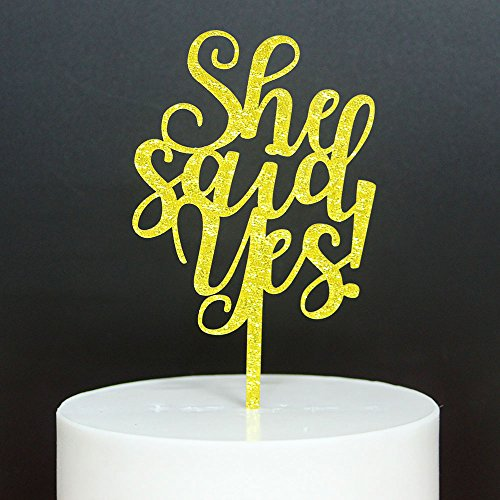 Betalala Gold ''She Said Yes''Cake Topper for Birthday Wedding Party Decoration. by Betalala