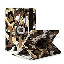 TCD for Apple iPad Air 2 [iPad 6] Camouflage PU Leather Series LIFETIME WARRANTY [BROWN] Protective Case Cover Stand [360? Rotation] Multi Purpose for Protection and Kickstand