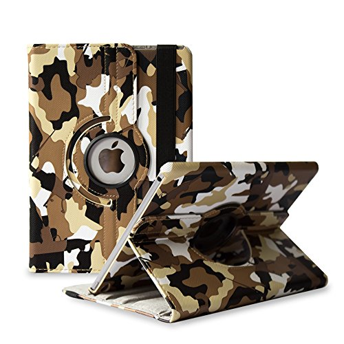 (TCD Apple iPad PRO 12.9 Inch [ONLY] Brown Camouflage PU Leather Series Protective Case Cover Stand [360 Degree Rotation] Multi Purpose Protection Kickstand)