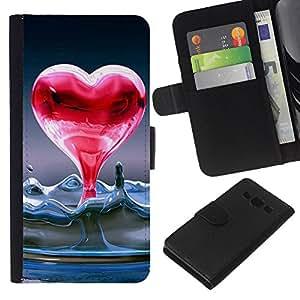JackGot ( Cuore di acqua allo stato liquido ) Samsung Galaxy A3 la tarjeta de Crédito Slots PU Funda de cuero Monedero caso cubierta de piel