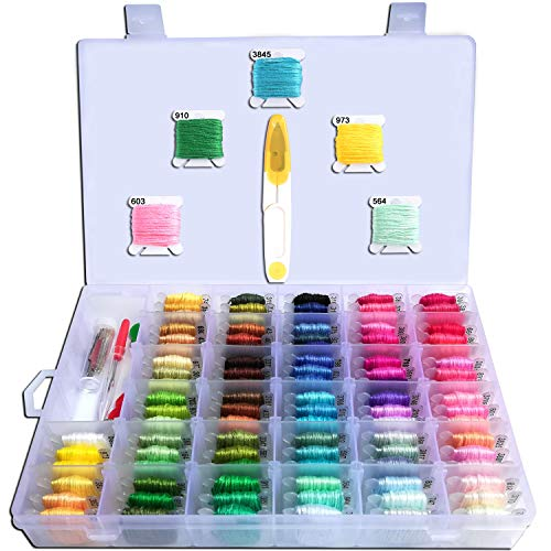 Embroidery Floss with Organizer-HoneForest 96 Colors Pre-Wound Embroidery Thread Bobbins with Color Numbers and 38 pcs Cross Stitch Kits, Perfect for DIY Friendship Bracelet String, Handcrafts, etc (Case Embroidery)