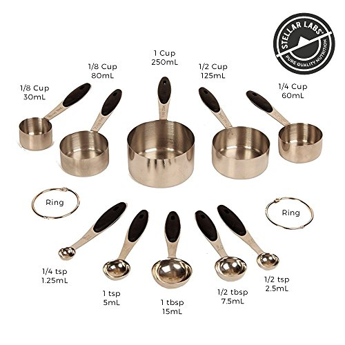 Stainless Steel Metal Measuring Cups & Spoons Set –Easy to