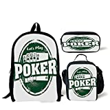 School Lunch Pen Bags,Poker Tournament Decorations,Lets Play Poker Stamp Royal Flush Grunge Vintage Full House,Green White,Personalized Print