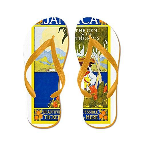 Cafepress Jamaica Travel Poster 2 - Infradito, Divertenti Sandali Infradito, Sandali Da Spiaggia Arancione