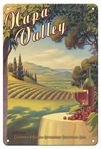 Napa Decor Valley - Pacifica Island Art 8in x 12in Vintage Tin Sign - Napa Valley California - Wine Country - Calistoga, St. Helena, Rutherford, Yountville, Napa by Kerne Erickson