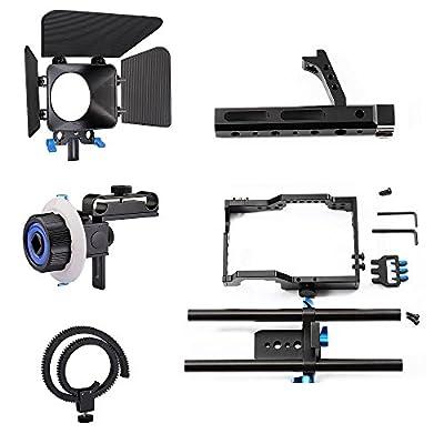 DSLR Rig Kit Shoulder Mount Rig + Matte Box +Follow Focus+Dslr Cage for DSLR Cameras and Video Camcorders
