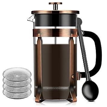 Francés Cafetera eléctrica de prensa, prensa francesa de cristal famirosa Kit Máquina (8 tazas, 1 litro, 34 oz) para café té Camping oficina: Amazon.es: ...
