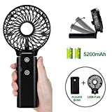 COMLIFE Handheld Fan 5200mA Power Bank, Rechargeable Battery Operated Fan with 5-20 Hours Working Time,3 Speeds,Strong Airflow, Foldable Design