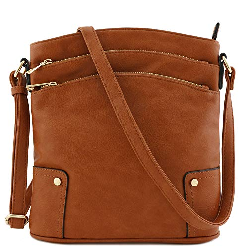 Triple Zip Pocket Large Crossbody Bag (Tan) (Womens Dark Brown Handbag)