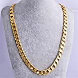 by lucky Mens Boy Stainless Steel 18K Gold Filled Curb Cuban Chain Necklace Jewelry 24
