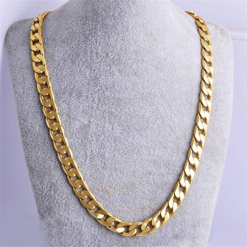 sujareeshop para hombre chico de acero inoxidable 18K chapado en oro collar de cadena Cubana de eslabones joyería 61cm