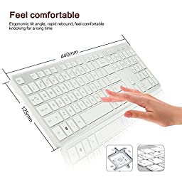 E-More Waterproof Dustproof Ultra-thin 2.4G Wireless Keyboard and Shine Optical Mouse Combos and USB Receiver Kit Silicon For PC Laptop Notebook(White with Silver)