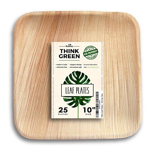 Price comparison product image Dukrey Disposable Palm Leaf Plates,  Square / Compostable + Biodegradable / 10 Inch,  25 Count