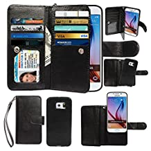 Case for Samsung Galaxy S6, xhorizon Premium Leather Folio Case [Wallet Function] [Magnetic Detachable] Fashion Wristlet Lanyard Hand Strap Purse Soft Flip Book Style Multiple Card Slots Cash Compartment Pocket with Magnetic Closure Case Cover Skin ZA5 for Samsung Galaxy S6 (G9200) - Black