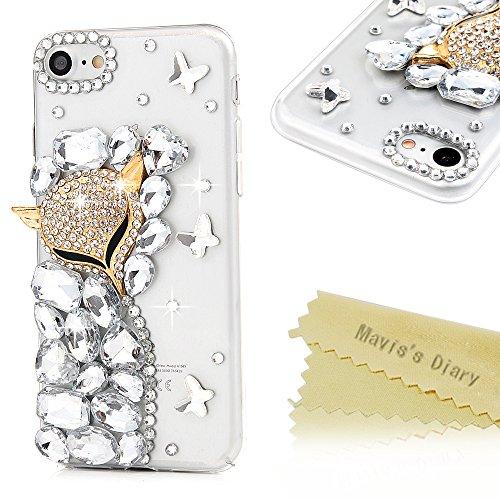 Mavis's Diary iPhone 7 Case (4.7) 3D Handmade Bling Golden Diamond Fox Shiny Crystal Diamonds Rhinestone Full Edge Protection Clear Hard PC Cover for…