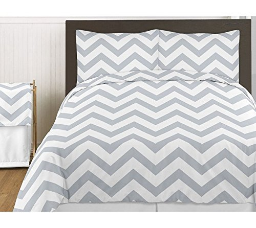 Sweet Jojo Designs 3-Piece Gray and White Chevron Childrens and Teen Zig Zag Full / Queen Girl or Boy Bedding Set Collection