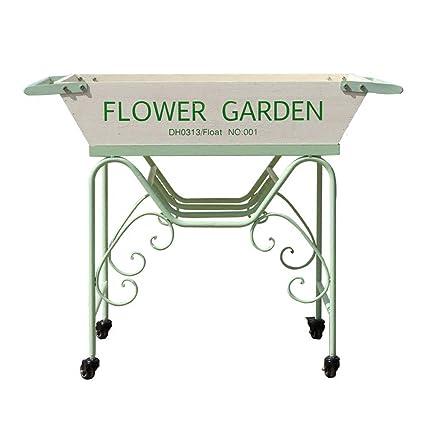 LIYANHJ Soporte para Plantas Carritos de jardín con Ruedas y vagones Mueble de Madera de Hierro