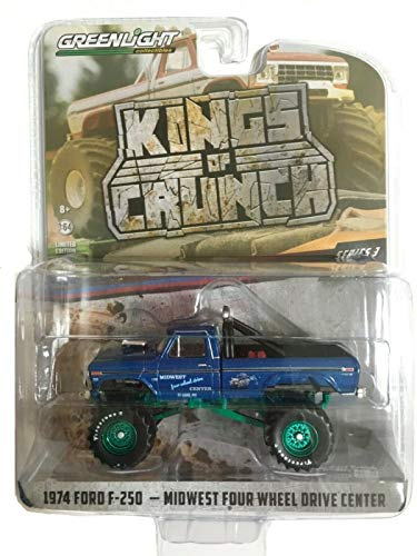 Greenlight Chase Green Machine 49030-A Kings of Crunch Series 3 Midwest Four Wheel Drive & Performance Center 1974 Ford F-250 Monster Truck 1:64 Scale