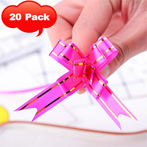 10 Colors Christmas Gift Wrap Ribbon Pull Bows (2 inch 5cm) Flower, Wedding, Wreath, Garland, Valentine's Day, Gift Basket, Presents, Birthday, Fundraiser, Classroom, Office, Decoration (Hot Pink)