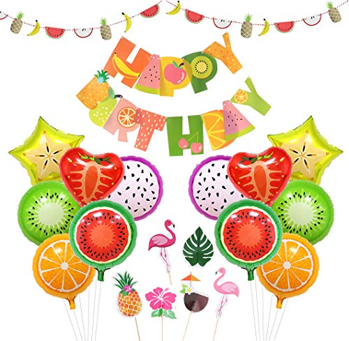 Cake Fruit Birthday - Tutti Frutti Party Decorations Fruit Party Favors Fruit Happy Birthday Banner Balloons Cupcake Toppers for Birthday Luau Fruit Themed Party Summer Tropical Party Supplie