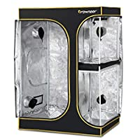 """GROWNEER [Upgraded] 60""""x48""""x80"""" Lodge Propagation Tent 2-in-1 Mylar 600D Hydroponic Indoor Grow Tent, with Easy View Window and Floor Tray, for Hydroponic Indoor Plant Germination Growing"""