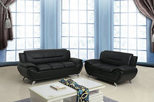 Container Furniture Direct S5395-S+L Michael Sofa and Loveseat, Black