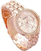 Mens Gold Watches Diamond Dial Gold Steel Analog Quartz Wrist Watch