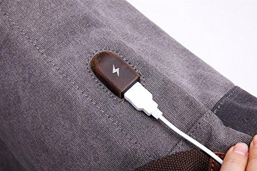 Bandoulière Multifonctionnel Sac Rétro 6 À Size Avec D'épaule De D'ordinateur 15 L'interface color M Gray Gray D'usb D'hommes Pouces Dos wBppF5qE