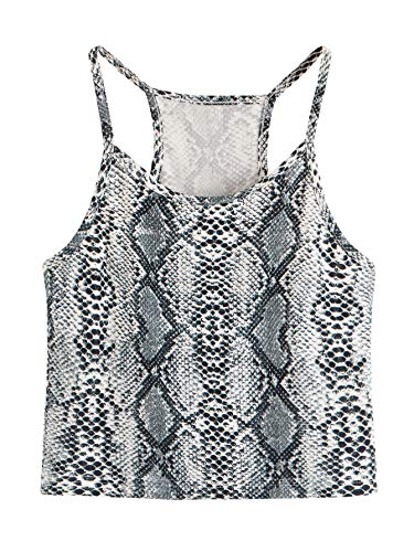 SheIn Women's Summer Basic Sexy Strappy Sleeveless Racerback Crop Top Small Leopard ()