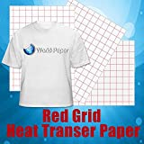 Red Grid Light Inkjet Heat Transfer Paper 8.5'' x 11'' (Platinum Pack (20 Sheets))