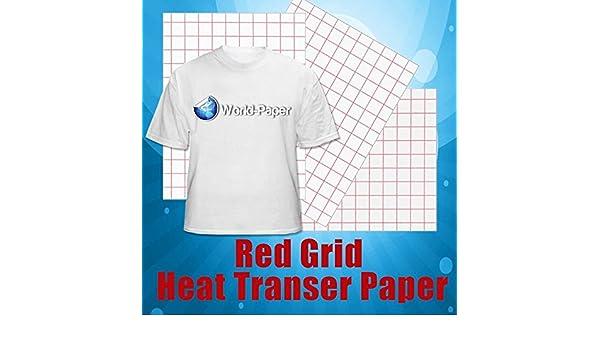 Rojo Cuadrícula luz de inyección de tinta papel de transferencia de calor 8.5