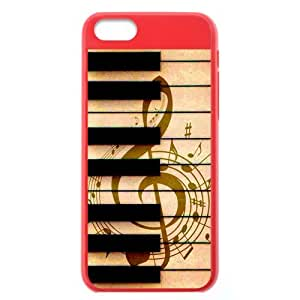Generic Custom Oustanding Otterbox--Brown Musical Note and Black Piano Keys Plastic Yellow and Salmon Case Cover for iPhone5C