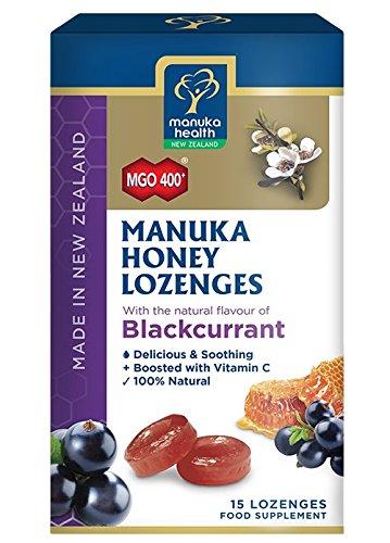 Manuka Health MGO400 Manuka Honey Lozenges with Blackcurrant -2.66 oz 15 Counts