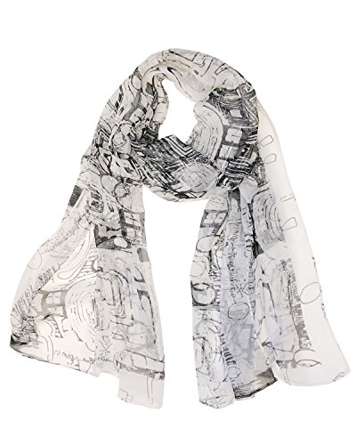 Wrapables Lightweight Sheer Silky Feeling Chiffon Scarf, Abstract White