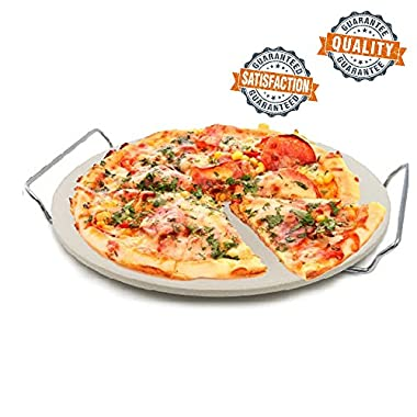 Kitchen Buddy Round Oven Pizza Cooking Stone with Chrome Rack – 13 Inch