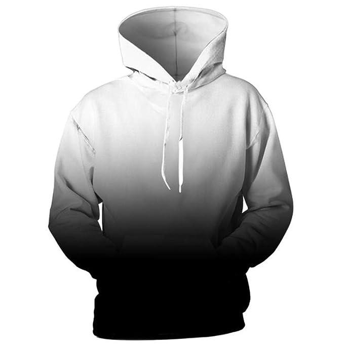 Diseño Plus Size Hoodies Negro Blanco Gradien Pullover Hombre Mujer Unisex Sudaderas Thin Chándal con Capucha: Amazon.es: Ropa y accesorios