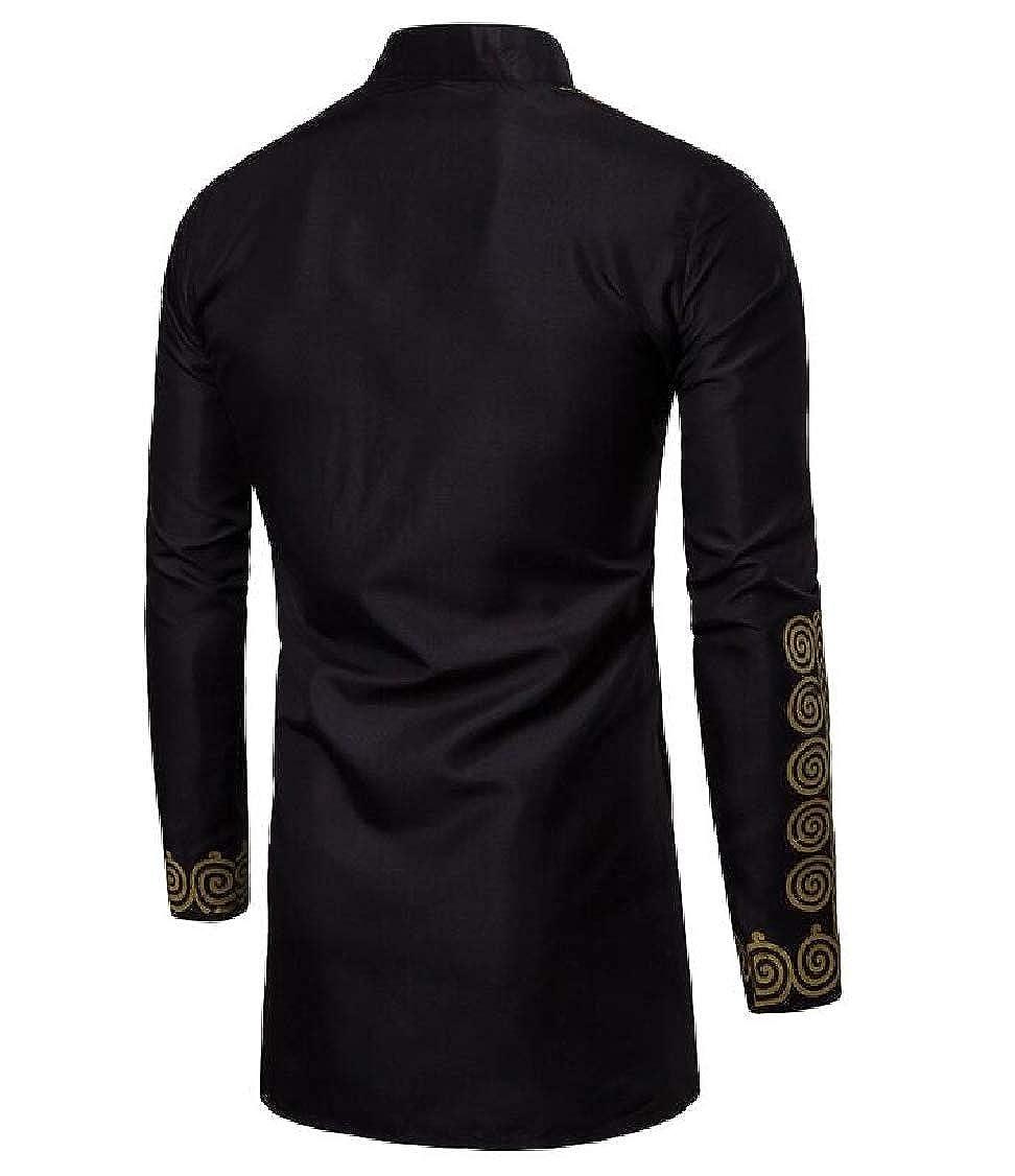 Lutratocro Mens Hipster Print Long-Sleeve Top Irregular Africa Shirt