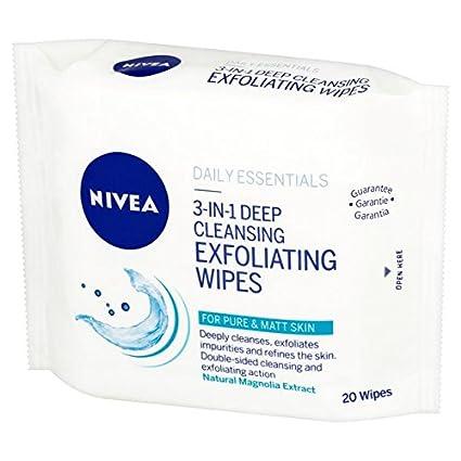 NIVEA Daily Essentials - Toallitas exfoliantes 3 en 1 para limpieza profunda, 20 toallitas